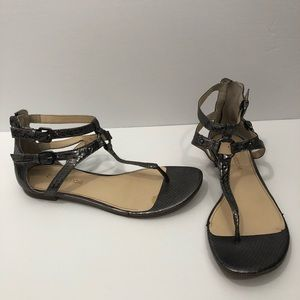 Enzo Angiolini metallic grey buckle sandals 8 1/2
